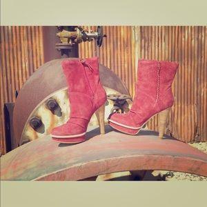 New Womens UGG Bianka Mahogany Red Ankle High Heel